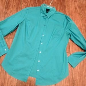 Worthington lds sz 12 aqua colored button down